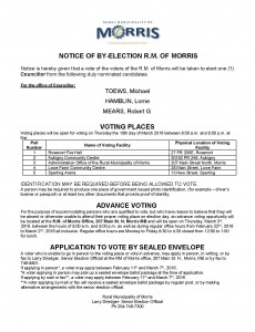 NOTICE OF ELECTION 2016 By-election